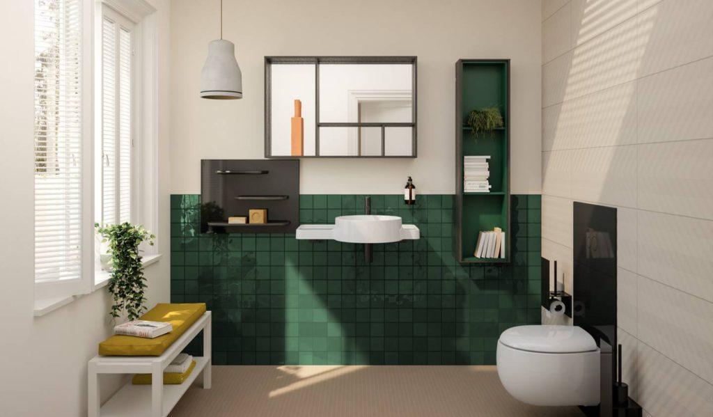 Baño con azulejos verdes y líneas rectas