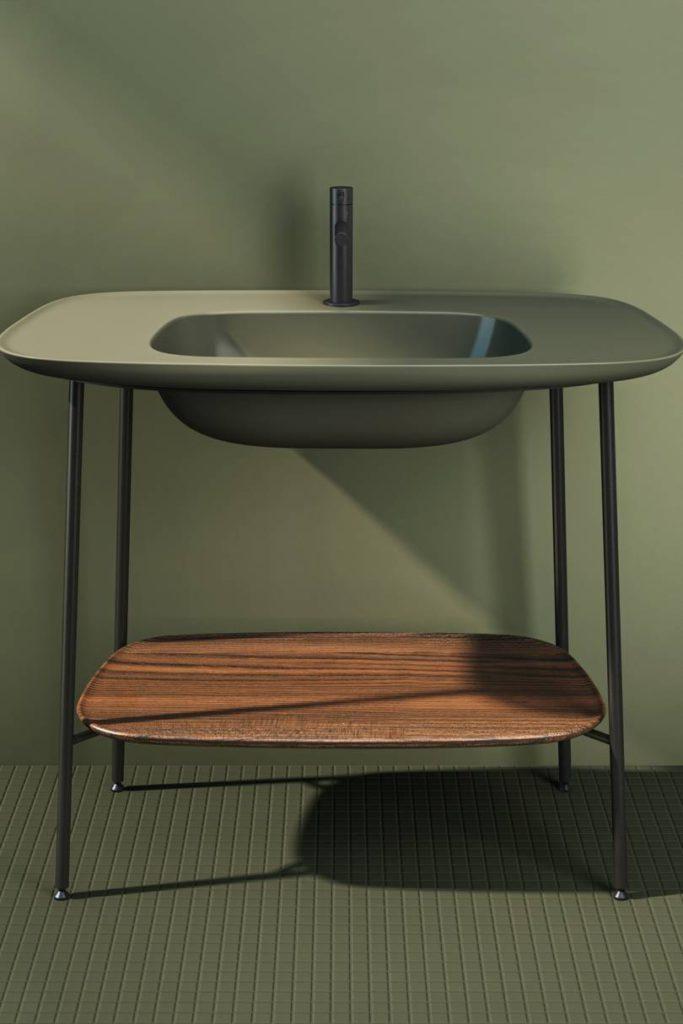 Vitra lavabo verde musgo con repisa amaderada